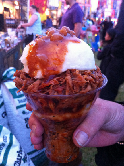 The Pulled Pork Parfait at Miller Park in Milwaukee looks so wrong, but probably tastes so right.