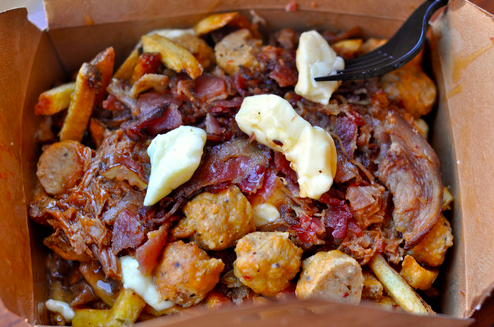 Triple Pork Poutine at the BMO Field in Toronto is a Canadian and meat-lover's dream all it once.