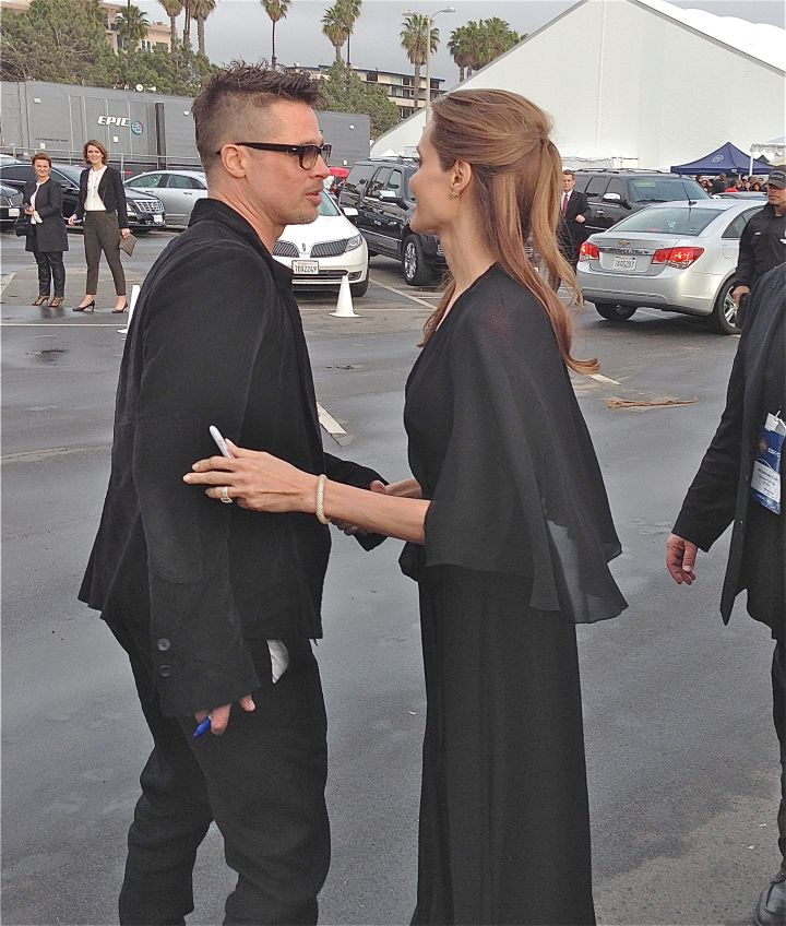 Brad Pitt and Angelina Jolie seen at the Independent Spirit Awards in Santa Monica as they hang out with their fans.