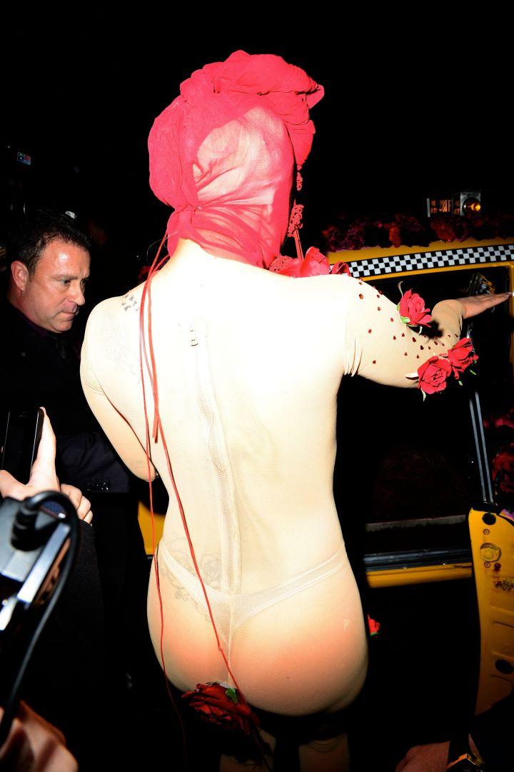 Lady Gaga In A See-Through Bodysuit.
