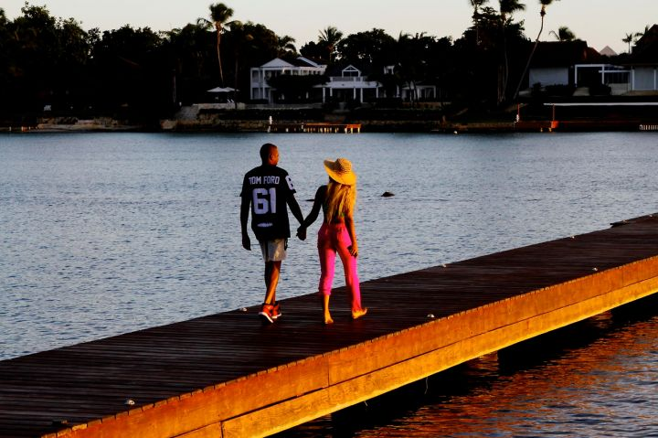 The notoriously private couple share a moment on the ocean.