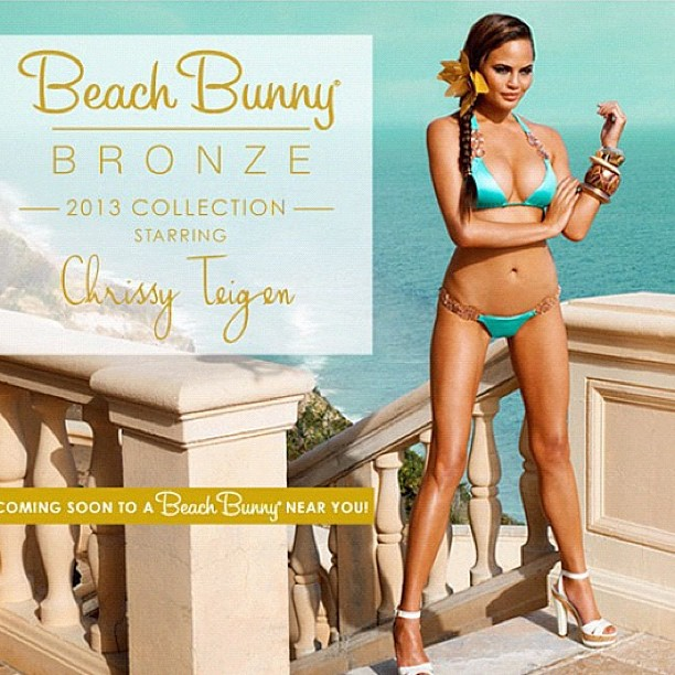 Chrissy Teigen for Beach Bunny swimwear.