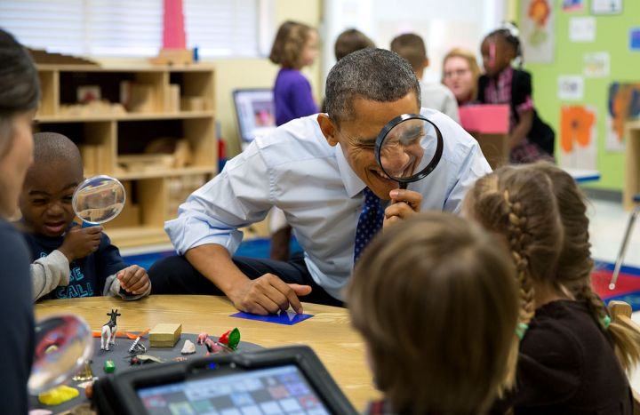 President Obama keeping a close eye on the students.