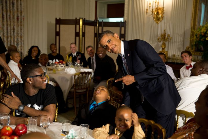 "Pete Souza: ""The President called me over to pose for a photo with a young boy who had fallen asleep during the Father's Day ice cream social in the State Dining Room of the White House."" Gotcha!"