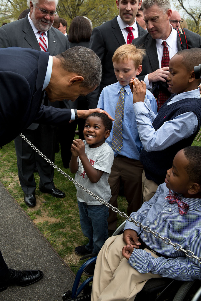 President Obama greets a little boy with the biggest grin we've seen in a while.