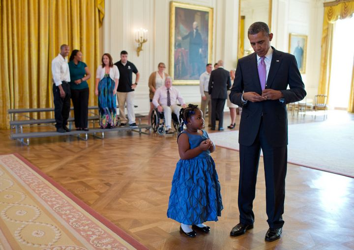 Cutest Story Ever: When Alanah Poullard visited the White House to greet Wounded Warriors and their families, she asked the president to write her a school excuse note so she wouldn't get in trouble for missing a day of school. He happily did just that.