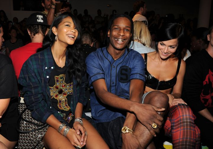 A$AP Rocky has his girl grilled out front row at a 2013 Jeremy Scott show in NYC.
