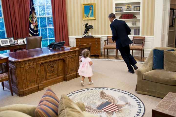 Taking a moment from signing executive orders to play tag in the Oval Office.