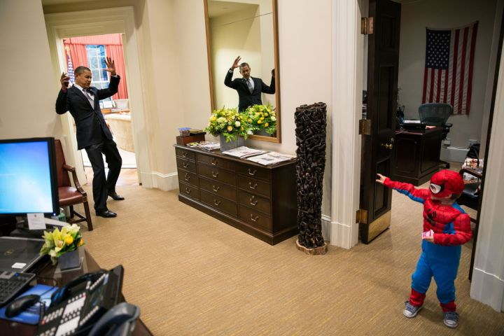What's a day in the White House without getting caught by a mini Spider-Man?