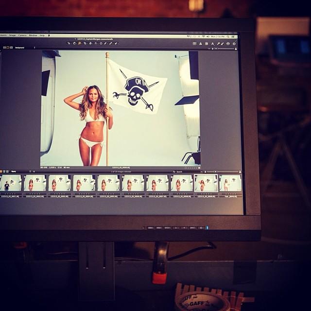 A behind-the-scenes bikini shot.