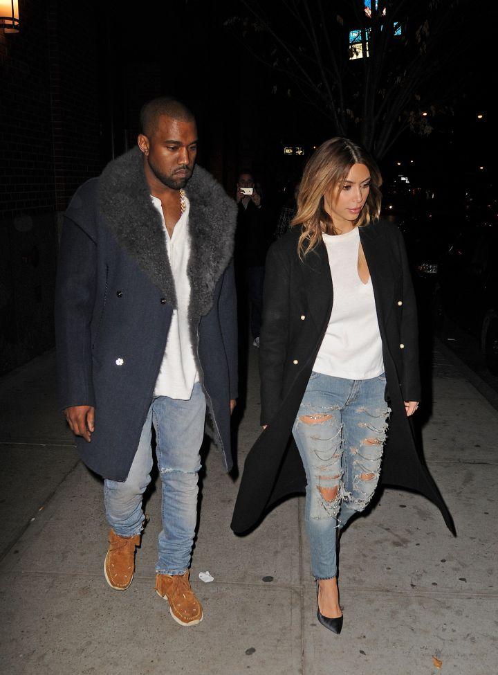 Kim K and Kanye kill in blue jeans.