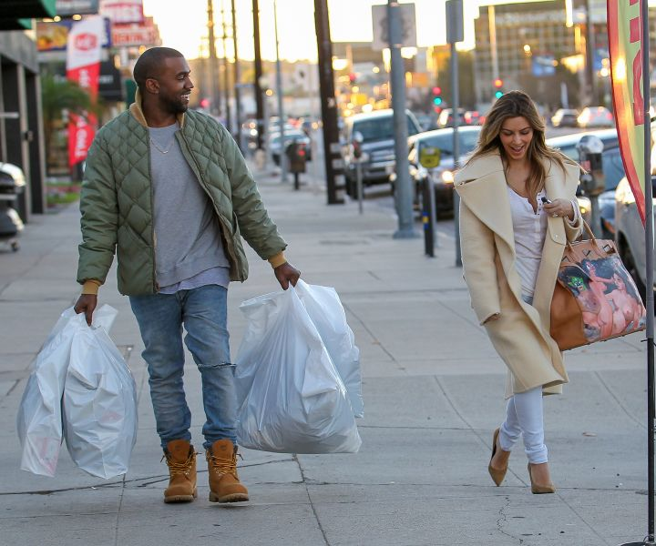 Kim K and Kanye kill the jean look while shopping for winter gear.