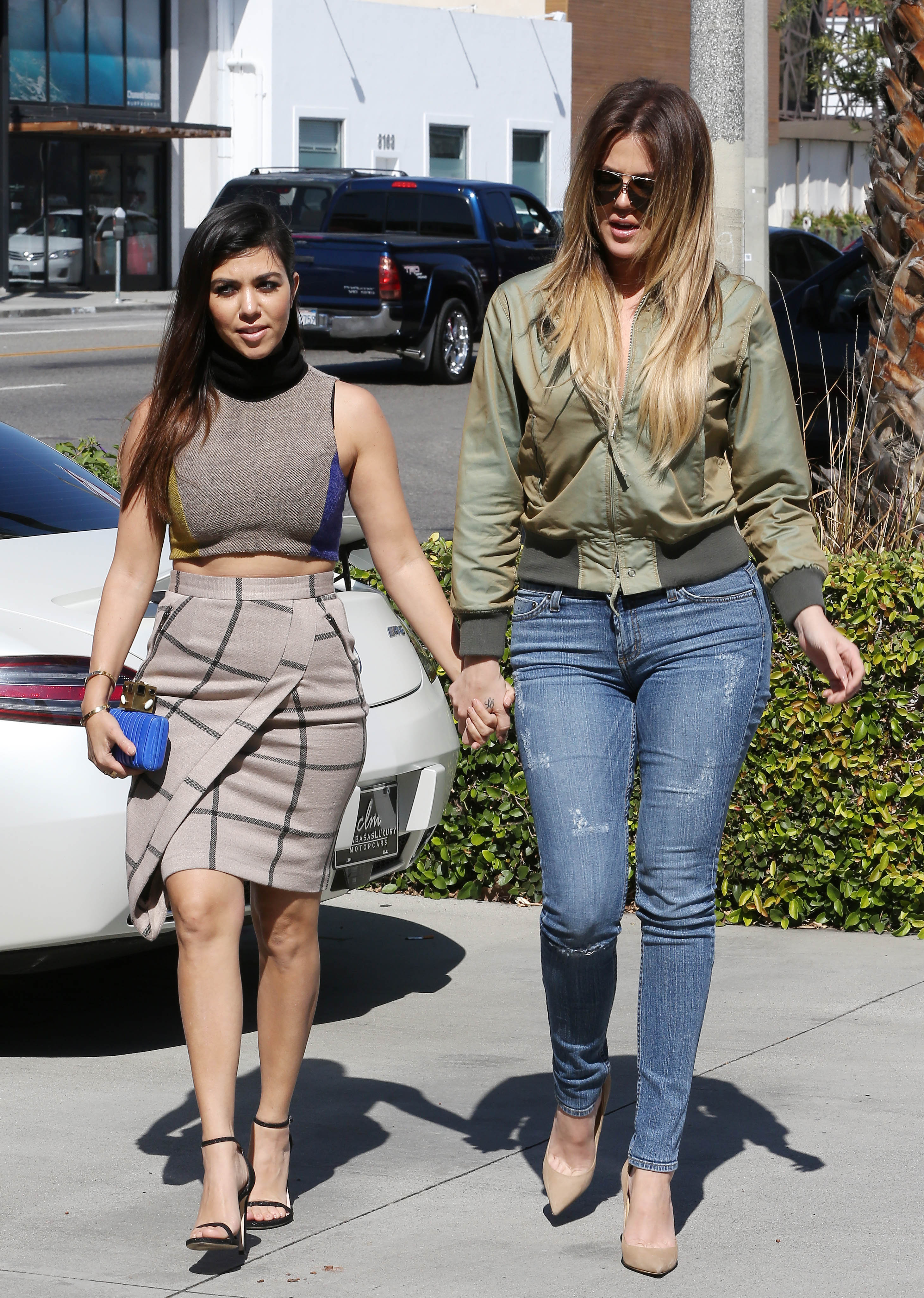 Khloe and Kourtney Kardashian shopping at an Antique store and shopping at the Rug Company