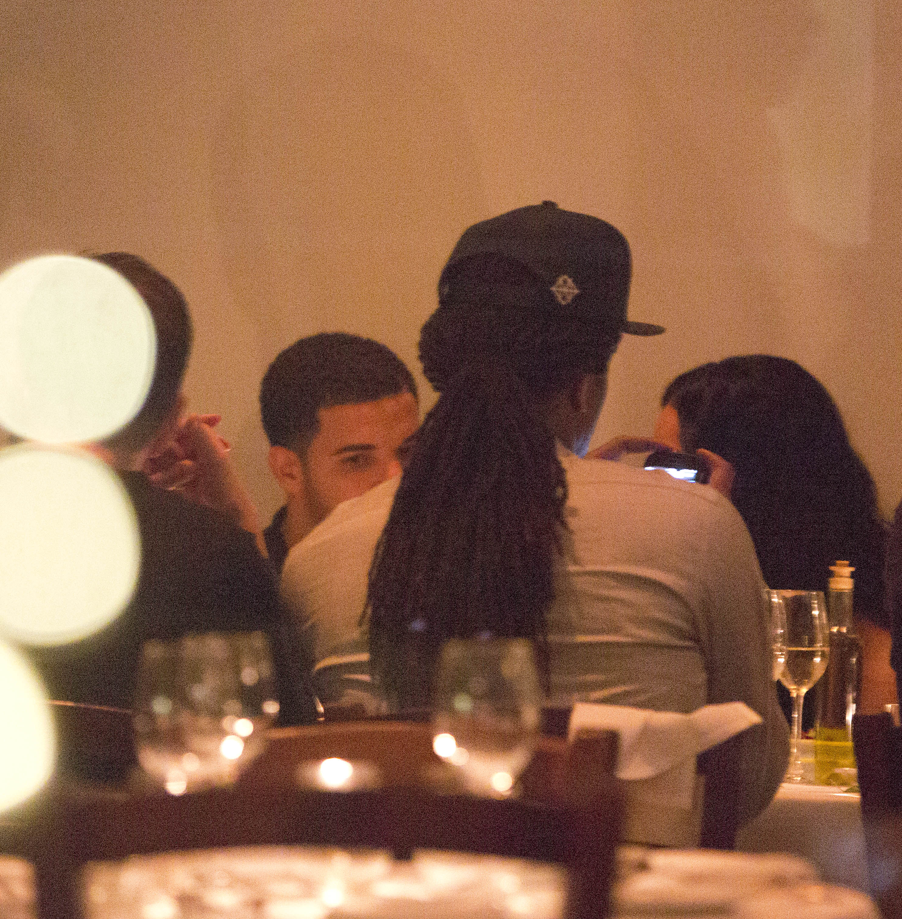 Drake and Rihanna share an intimate dinner together as they celebrate friend Melissa's birthday at Giorgio Baldi in Santa Monica, CA