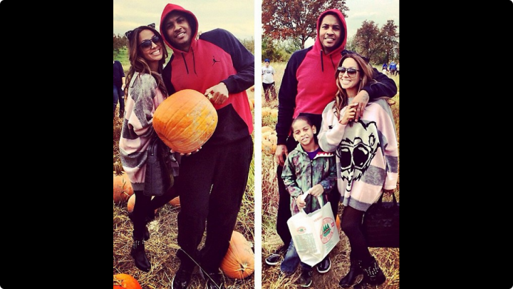 La La and Carmelo have some sweet family fun with their son Kiyan in a pumpkin patch.
