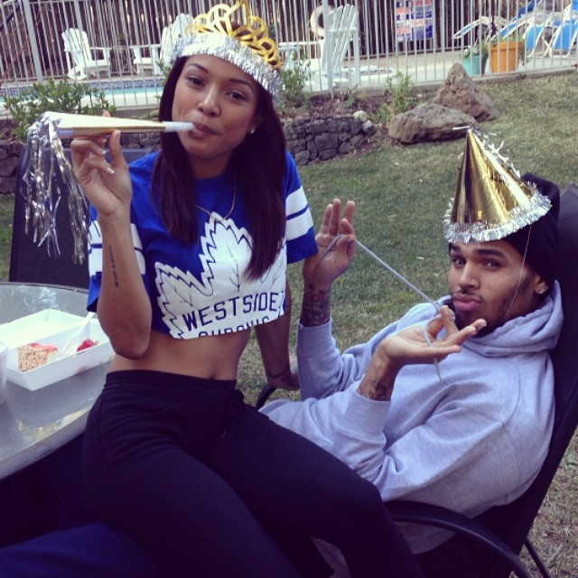 It's a intimate celebration as Karrueche and Chris get silly for his birthday.