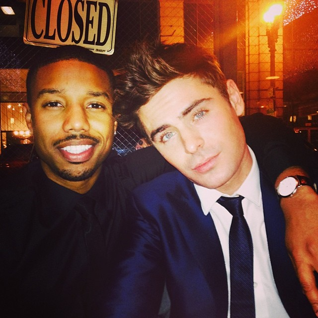 Too much sexy in one lens. Michael B. Jordan and Zac Efron chillin'.
