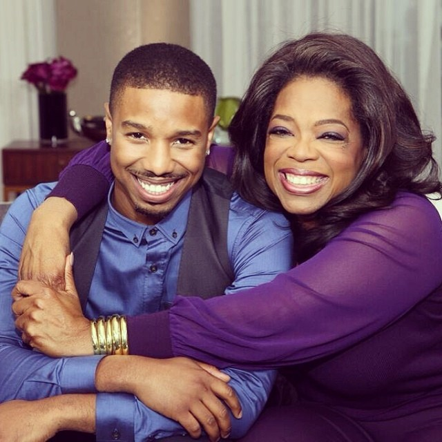 Michael B. Jordan and Oprah. Two beautiful people, two beautiful smiles.