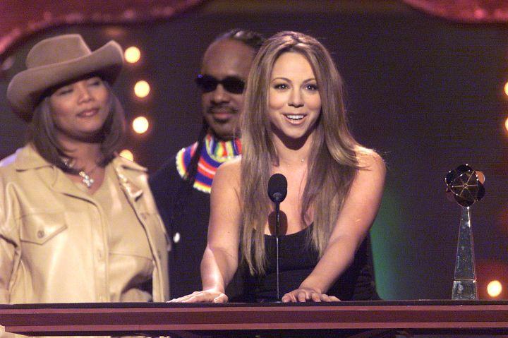 Mariah On Stage With Queen Latifah & Stevie Wonder.