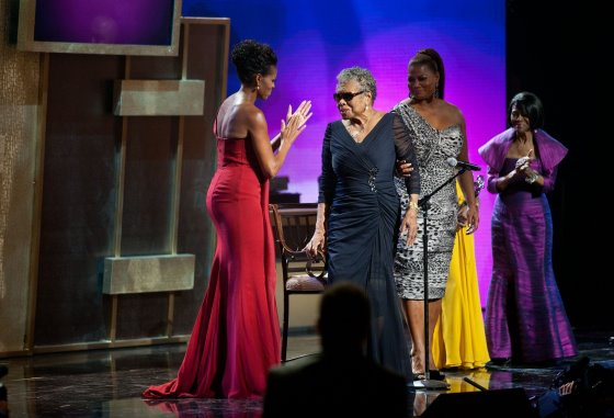Michelle Obama and Maya Angelou speak during the BET Honors 2012 at the Warner Theatre on January 14, 2012.