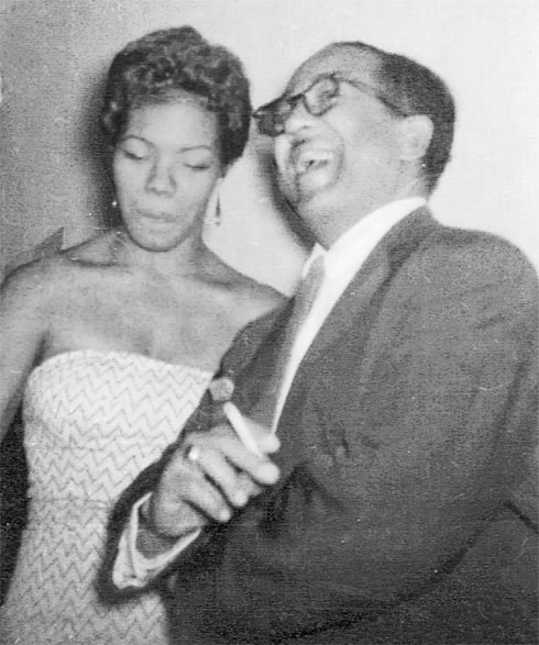 """Maya Angelou is pictured in an undated photo with poet Langston Hughes. From her Facebook: """"Langston Hughes and I are enjoying each other."""""""