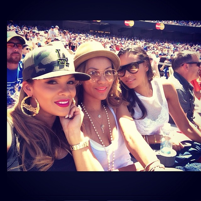 Eveyn and Shaniece at a Dodgers game on Mother's Day.