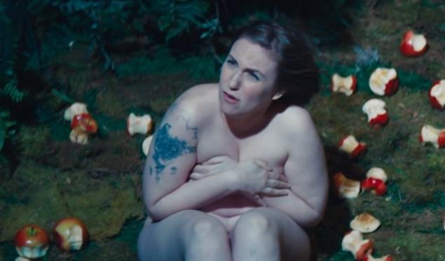 Although she looks as though she's trying to hide her goodies, Dunham is nude and surrounded by half bitten apples in this Bible-inspired skit from SNL.