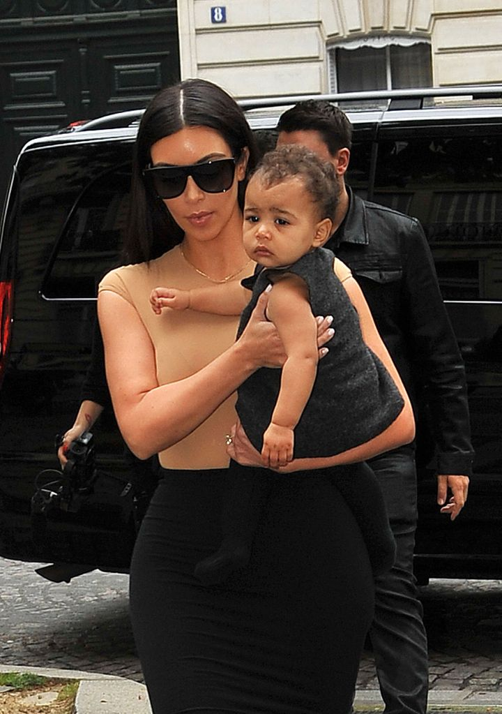 Just days before her parents' wedding, North looked adorable in a little black dress while strolling the streets of Paris with her mom.
