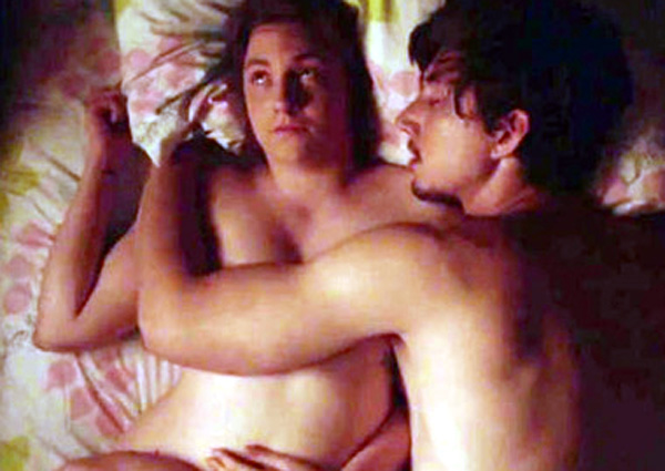 Lena is photoed nude in bed with on screen boyfriend Adam.