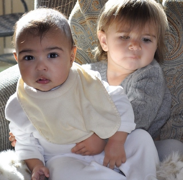 Kim shared this photo of a newborn North with her cousin Penelope in January.