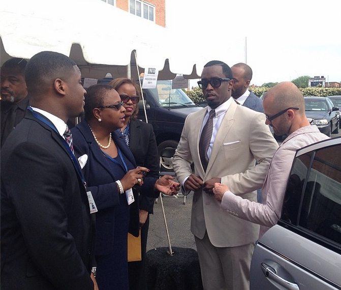Diddy arrives at Howard University's commencement ceremony.