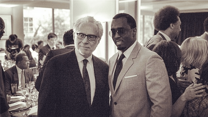 Diddy and Wolf Blitzer at Howard University's commencement ceremony