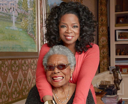 """Dr. Angelou with her mentee, Oprah Winfrey. Shortly after the poet's death on May 28th, 2014, Winfrey released this statement: """"I've been blessed to have Maya Angelou as my mentor, mother/sister and friend since my 20s…I loved her and I know she loved me. I will profoundly miss her. She will always be the rainbow in my clouds."""""""