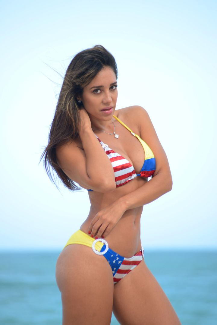 Model Andrea Calle reps the American and Colombian flag.