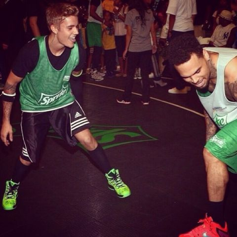chris brown and justin bieber BET basketball game instagram
