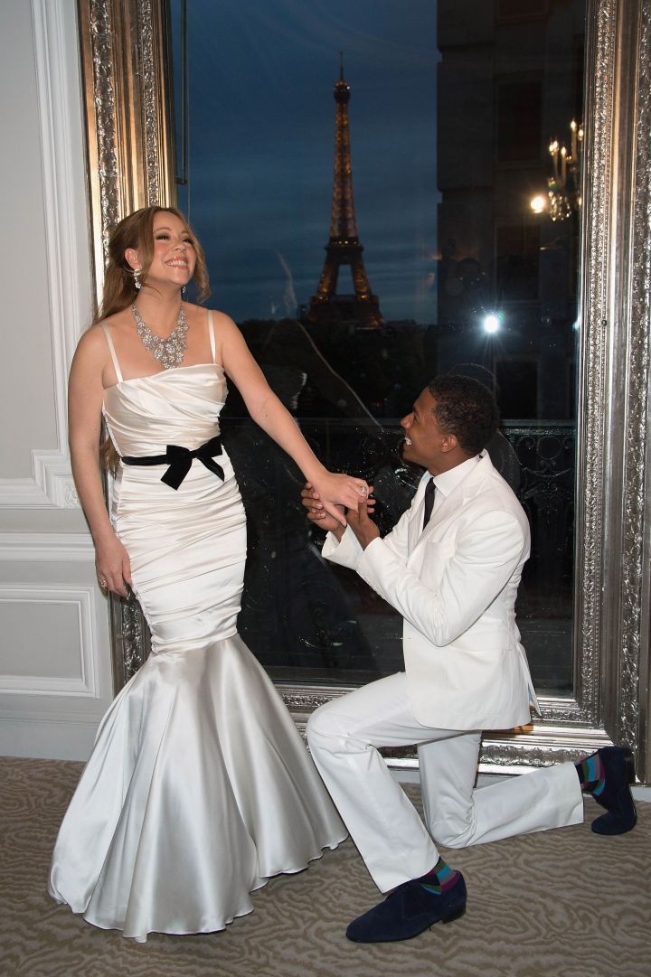 Nick Cannon serenades his wife Mariah Carey at their vow renewal ceremony.
