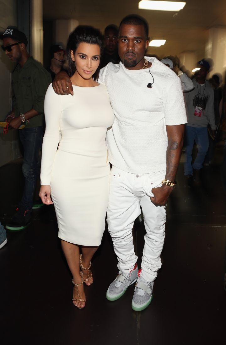 Backstage at the 2012 BET Awards, Kim supports her man.