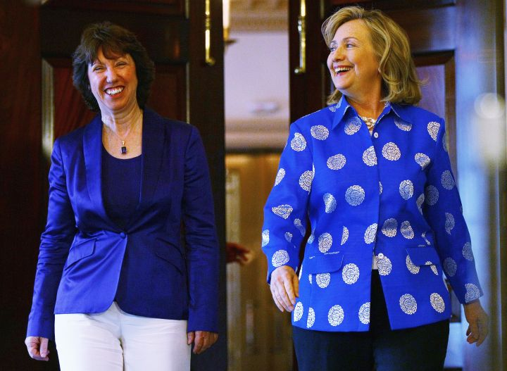 July 2011: Hillary switched up her look with this patterned blazer look.