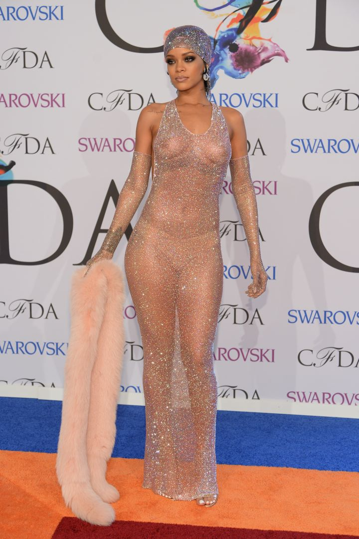 RiRi shut it down in this see-through dress she wore at the CFDA Awards.