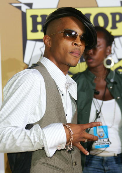 T.I. reppin' the East Coast, leather hat to the side.