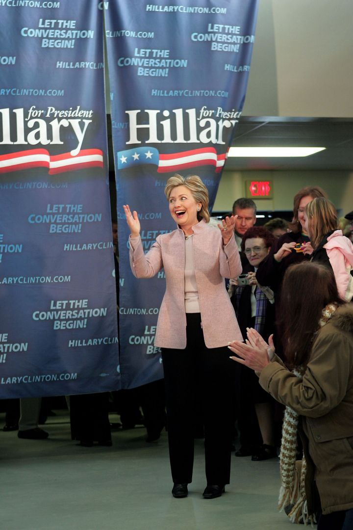 January 2007: Hillary switched up her pantsuits during her campaign run for President.