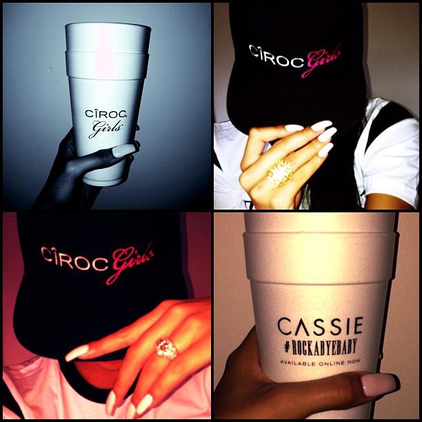 "Cassie representing for her man. ""Hat low, cup high… #happysaturday #cirocgirls #cirocgirlz #ciroc #ciroclife #cheersmotherf$*^%s."""