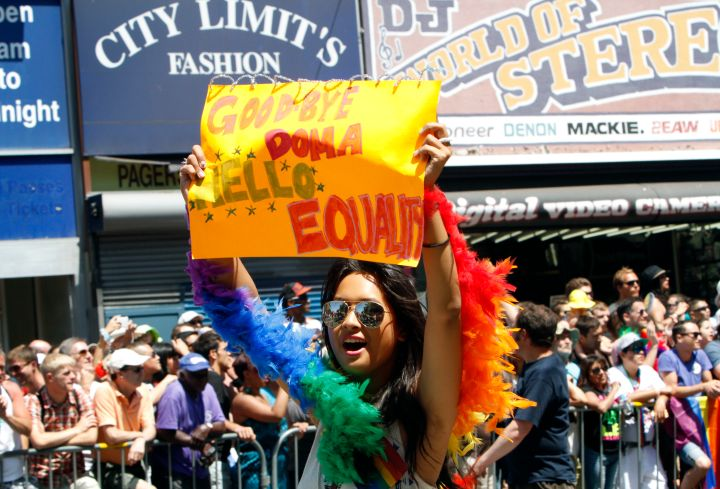 Pride parade winds through the streets of San Francisco.