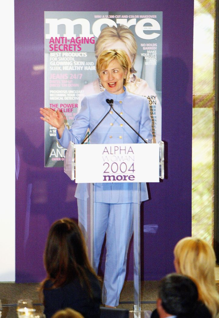 March 2004: Hillary showed off her pastel look during the More Alpha Woman Awards.