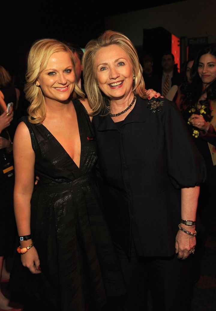 February 2012: Hillary & Amy Poehler hang out and bond..over pantsuits, of course.