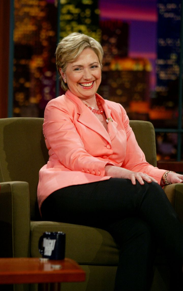 August 2003: Hillary cracks a few jokes about her pantsuits during a visit to The Jay Leno Show.
