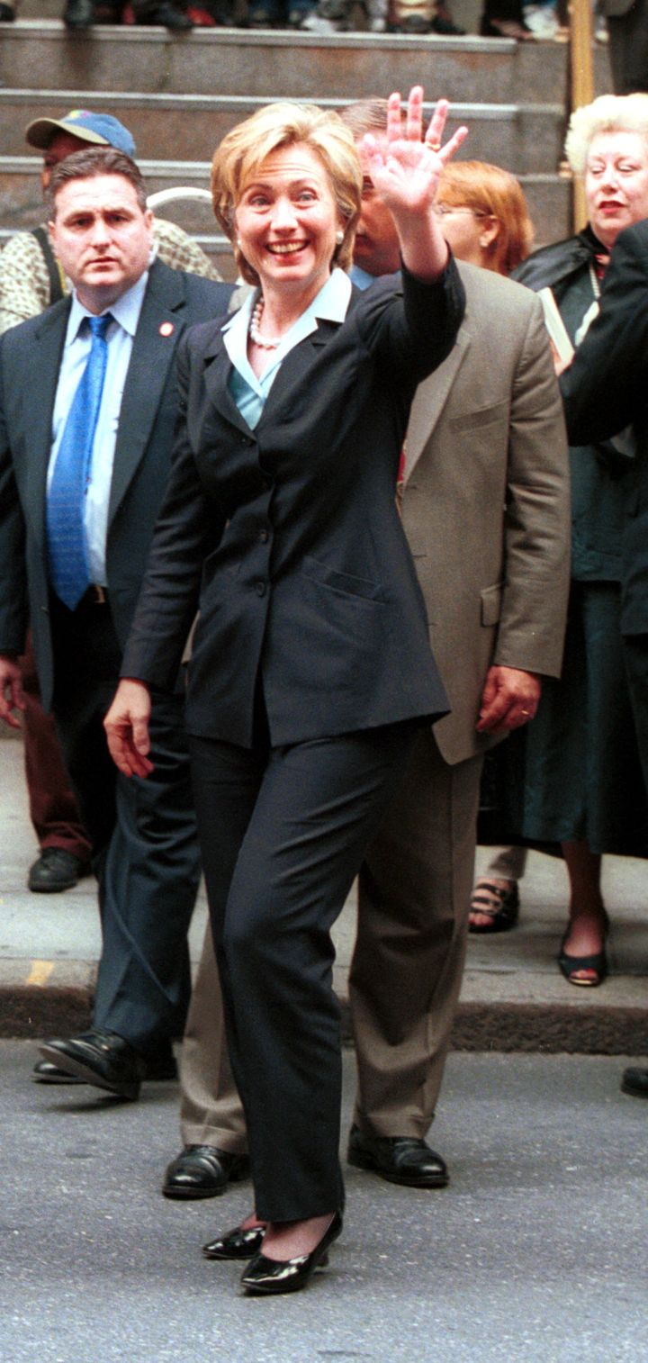 June 2000: Hillary rang in the summer with a traditional pantsuit in New York.