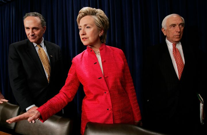 June 2005: Hillary made the switch to bold and brighter pantsuits in 2005.
