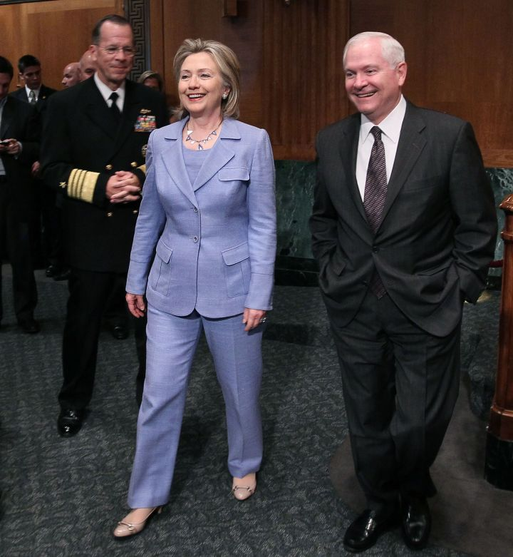 June 2010: Hillary brought back her pastel look for old time's sake.
