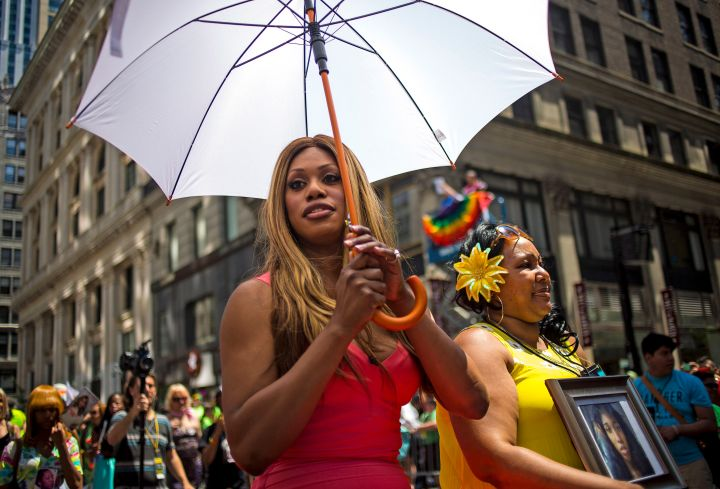 Laverne Cox makes her way through the Pride parade in NYC.